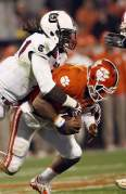 Clowney sacking Boyd in the 2012 Palmetto Bowl.  Clowney broke a record by having the most sacks by a player in Death Valley with 4.5.