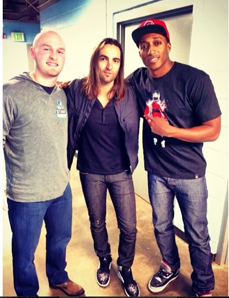 Connor Shaw (far left) during Winter Jam with visual artist Jared Emerson and recording artist Lecrae (source from Connor Shaw's Instagram)
